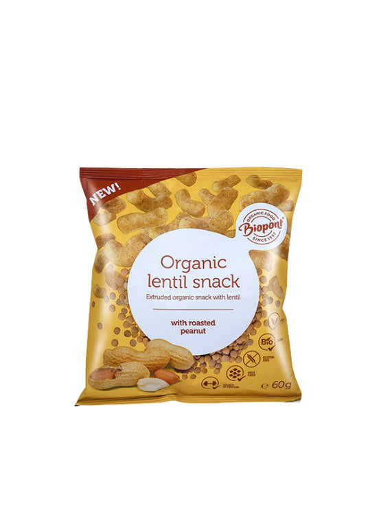 Biopont organic lentil snack with roasted peanut in 60g packaging
