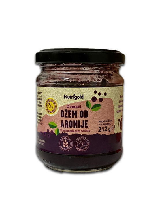 Organic Nutrigold aronia jam in a glass packaging of 212g