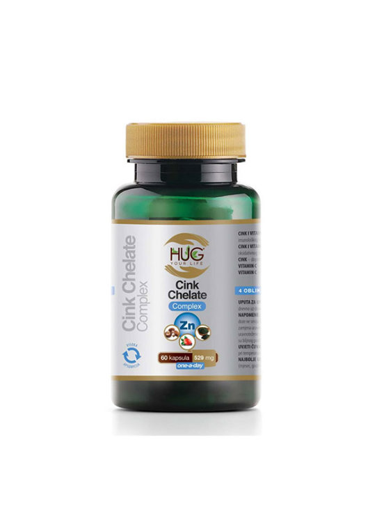 Hug Your Life zinc chelate complex in a packaging containing 60 capsules