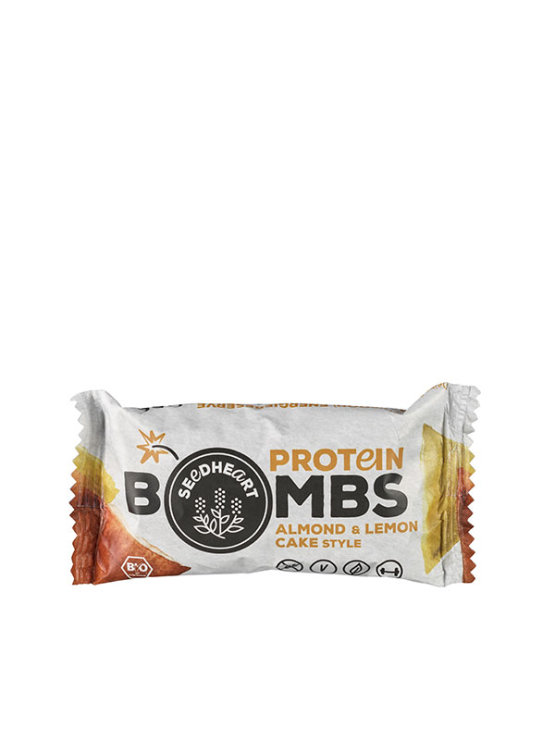 Organic Seedheart protein bombs almond and lemon in a packaging of 50g