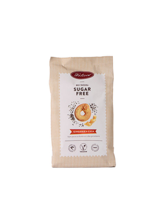 Delicia Gingerix sugar free cookies with ginger and chia seeds in a 200g packaging
