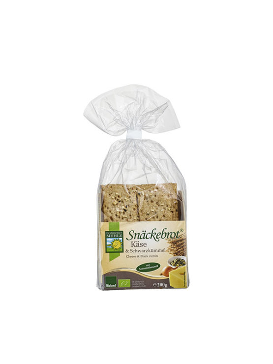 Organic Bohlsener Muhle crunchy crackers with cheese and cumin in a 200g packaging.