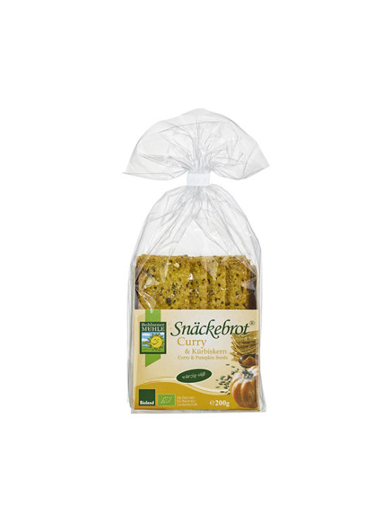 Organic Bohlsener Muhle crunchy crackers with curry and pumpkin in a 200g packaging.