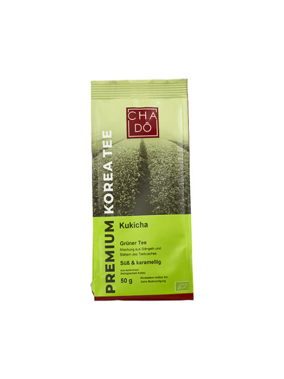 Organic Cha Dô Kukicha green tea in a 50g packaging