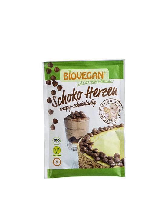 Biovegan organic gluten free chocolate hearts in a packaging of 35g
