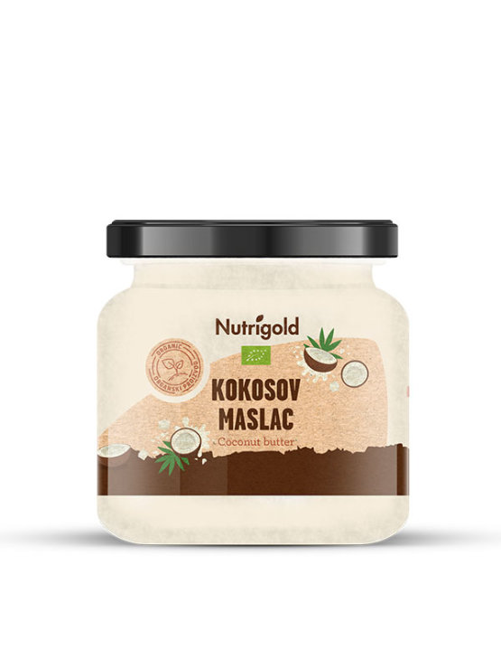 Nutrigold organic coconut butter in a jar of 250g