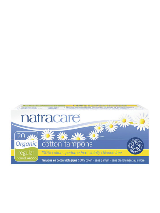 20 Natracare normal tampons in a cardboard packaging