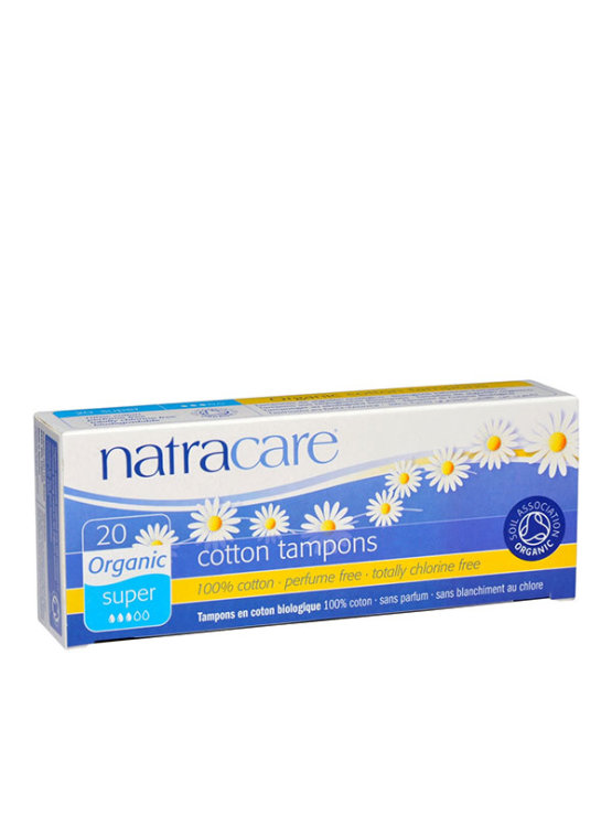 20 Natracare super tampons in a cardboard packaging