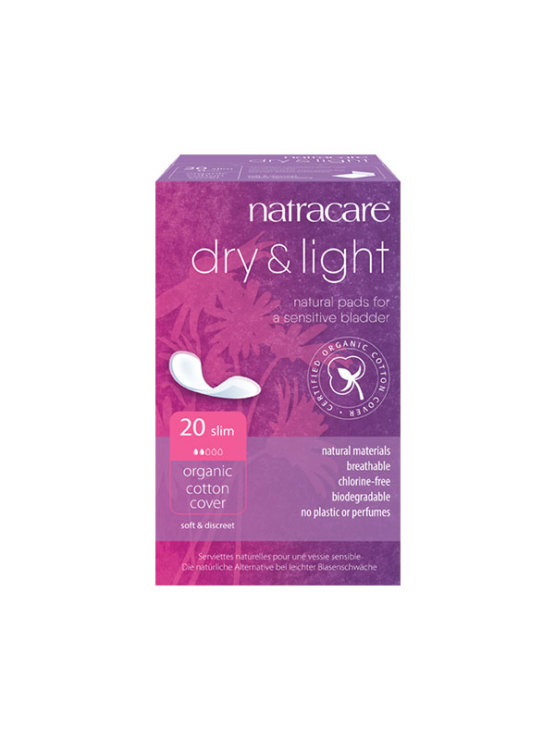 20 Natracare incontinence pads in a cardboard box