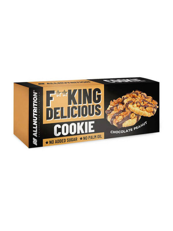 Chocolate & peanut cookies with no added sugar in a cardboard packaging of 150g - All Nutrition
