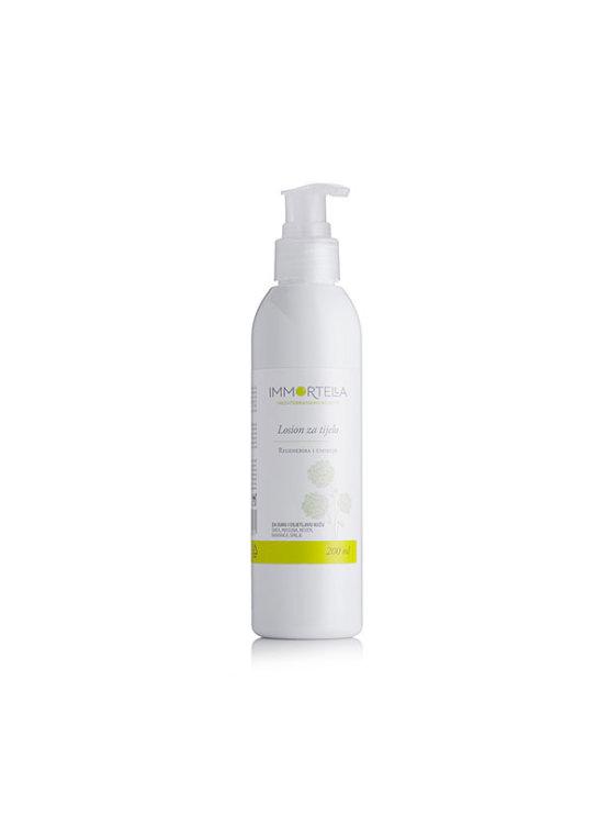 Immortella body lotion in white dispensing bottle of 200ml