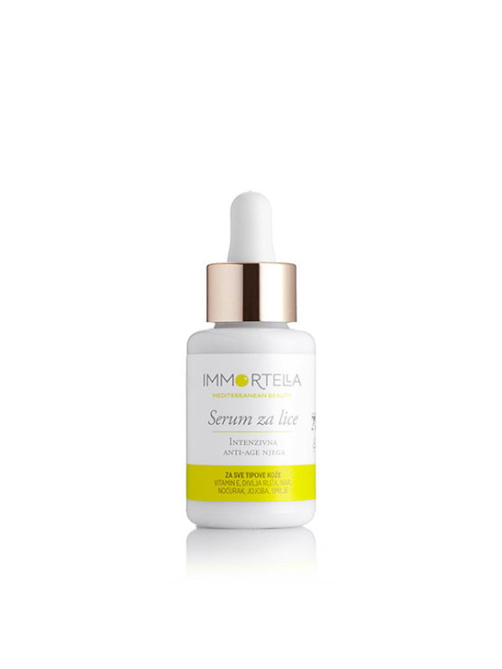 Immortella intense anti ageing face serum in a glass bottle of 30ml