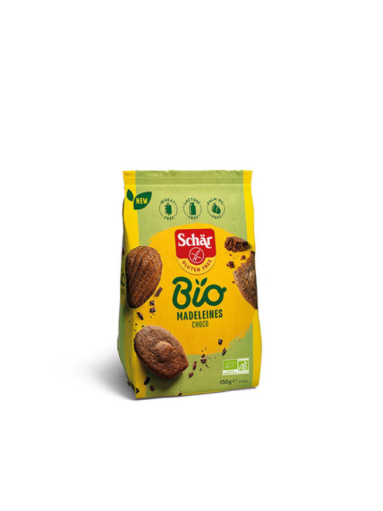 Schar organic, gluten free choco and almond madeleines in a packaging of 150g