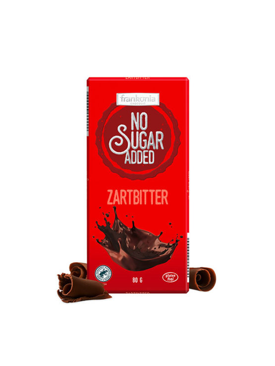 Frankonia dark chocolate with no added sugar in a packaging of 80g