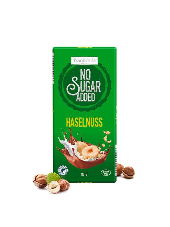 Frankonia hazelnut chocolate with no added sugar in a green cardboard packaging of 85g