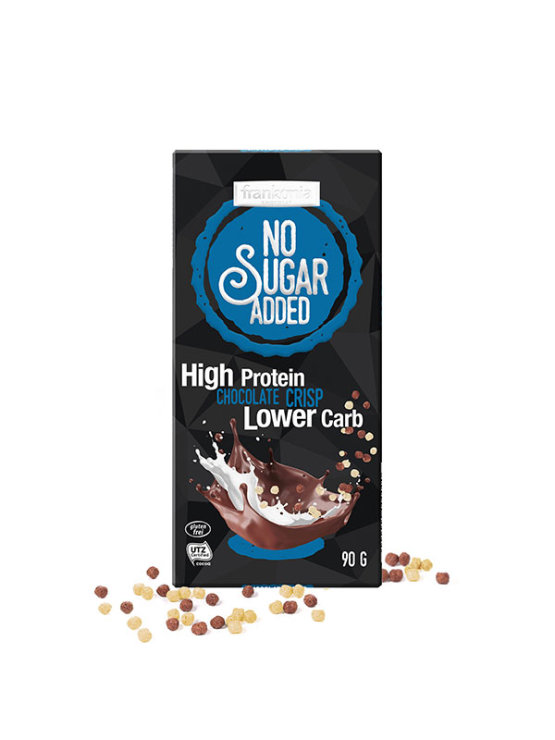 Frankonia high protein choco crisp chocolate with no added sugar in a packaging of 90g