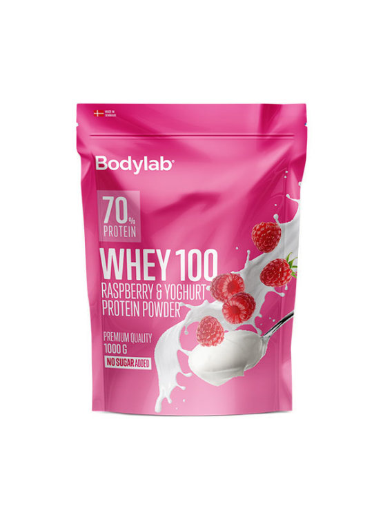 Bodylab whey 100 raspberry and yoghurt in a resealable packaging of 1000g