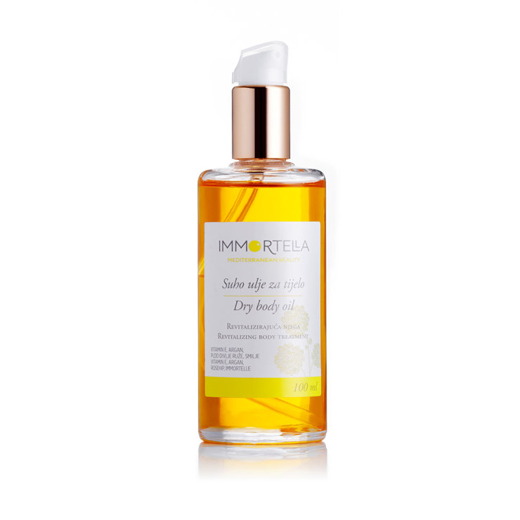 Immortella dry body oil in a packaging of 100ml
