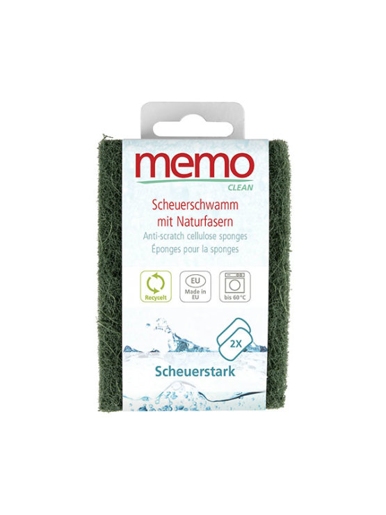Memo anti-scratch scrub sponges in a packaging containing two sponges