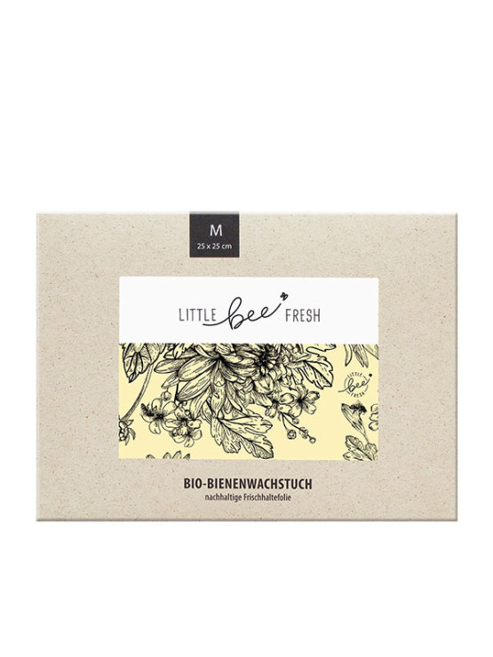 Little Bee Fresh beeswax wrap in a colourful packaging containing 25x25cm wrap