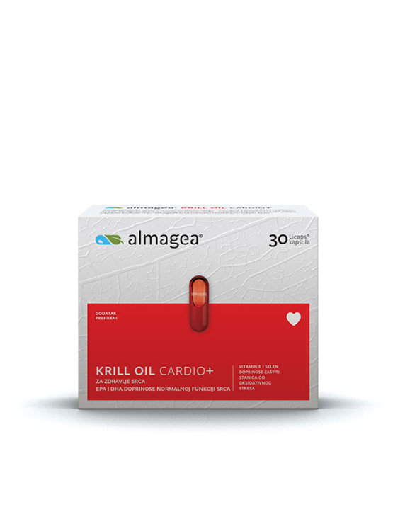 Almagea Krill Oil Cardio+ in a packaging containing 30 capsules