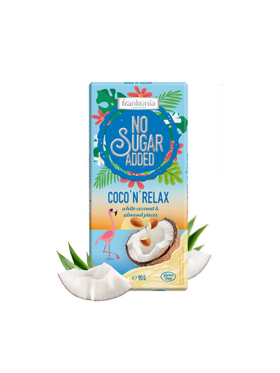 Frankonia coconut and almond white chocolate with no added sugar in a packaging of 90g