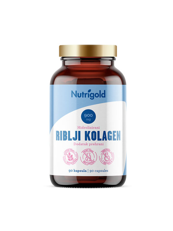 Nutrigold hydrolyzed fish collagen in a glass packaging containing 90 capsules