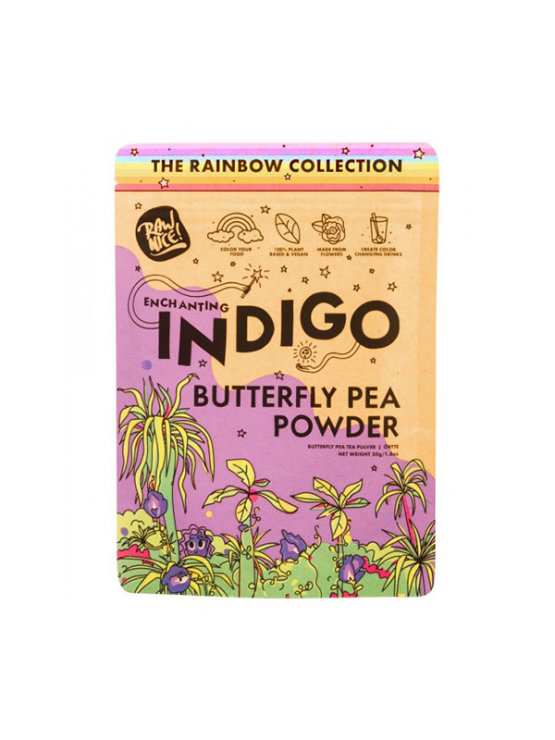 Rawnice butterfly pea powder in a colorful packaging of 50g
