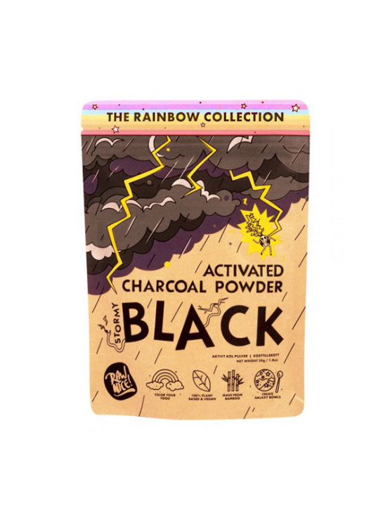 Rawnice activated charcoal powder in a colorful packaging of 50g