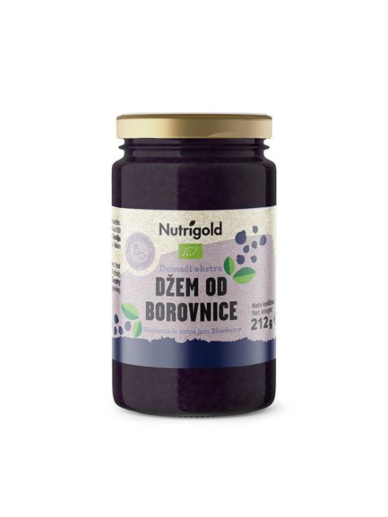 Nutrigold organic  homemade blueberry extra jam in a glass jar of 212g