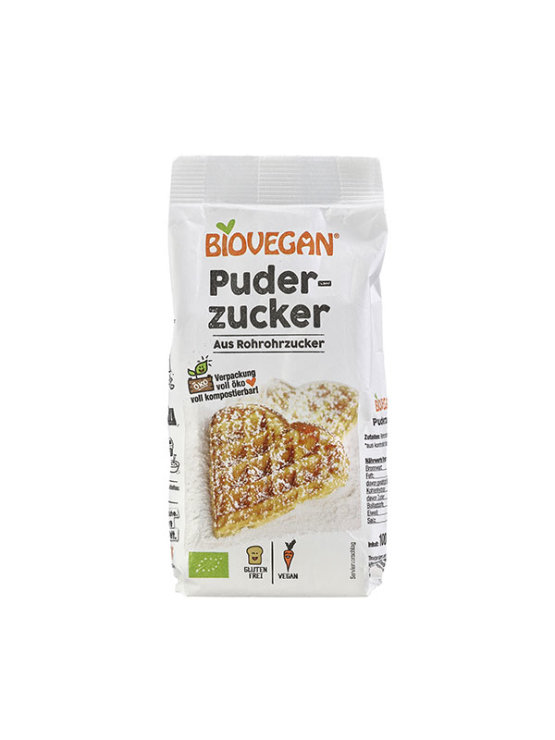 Biovegan organic and gluten free raw cane icing sugar in a packaging of 100g