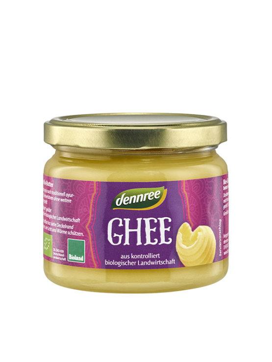 Dennree organic clarified butter ghee in a glass jar of 240g