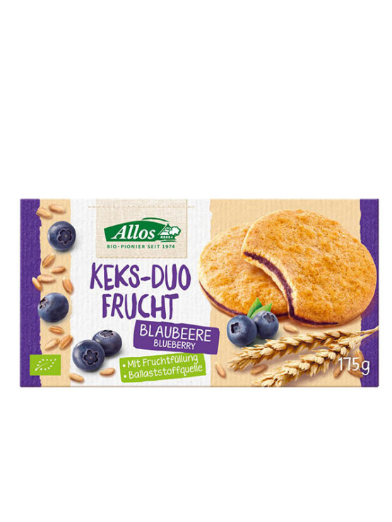 Allos organic double blueberry biscuits in a packaging of 175g