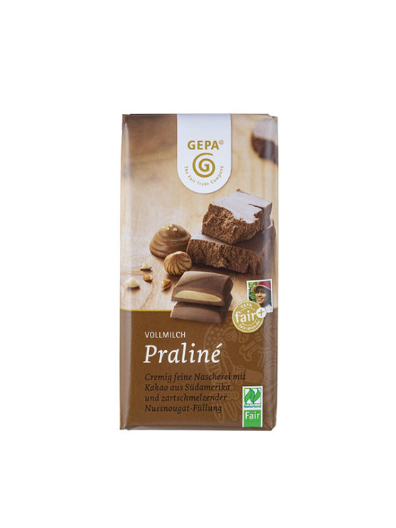 Gepa organic chocolate pralines in packaging containing 100g