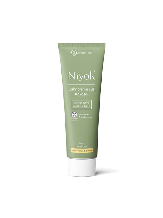 Niyok coconut oil toothpaste with peppermint and lemon in a sustainable packaging of 75ml