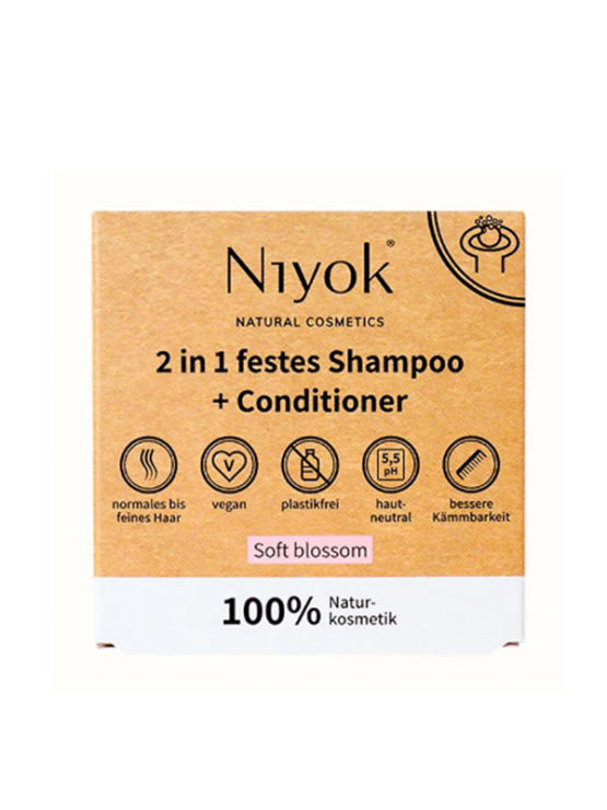 Niyok soft blossom hair shampoo & conditioner in a cardboard packaging containing hard soap bar of 80g