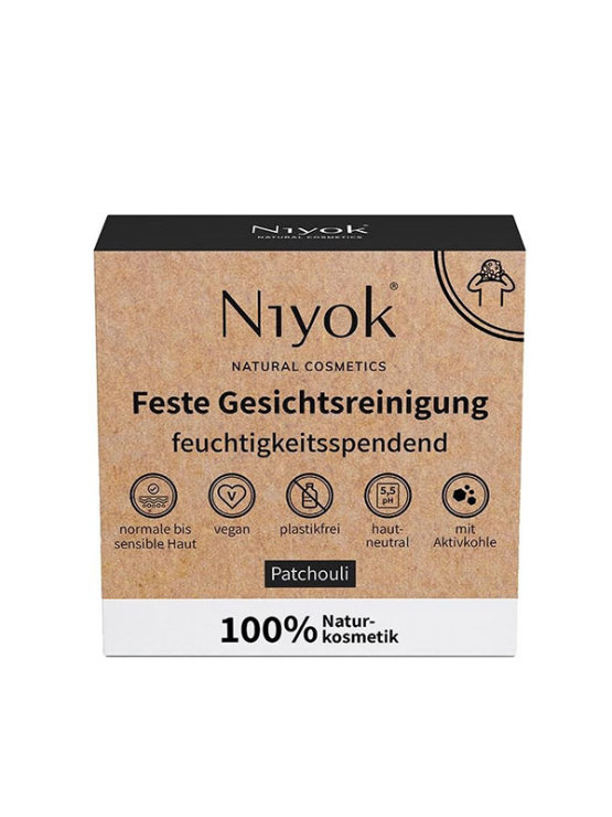Niyok facial cleansing soap bar with activated charcoal in a cardboard packaging containing soap bar weighing 80g