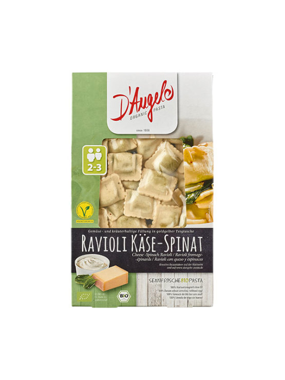 D'Angelo organic cheese and spinach ravioli in a packaging of 250g