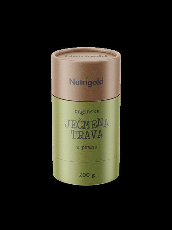 Nutrigold organic barley grass powder in a cylinder shaped packaging of 200g