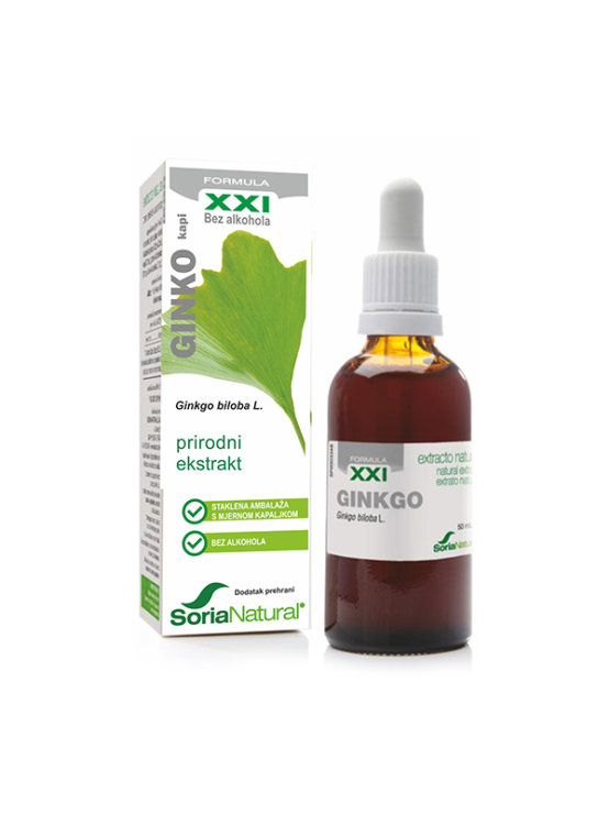 Soria Natural ginko drops in a 50ml glass bottle with a dropper