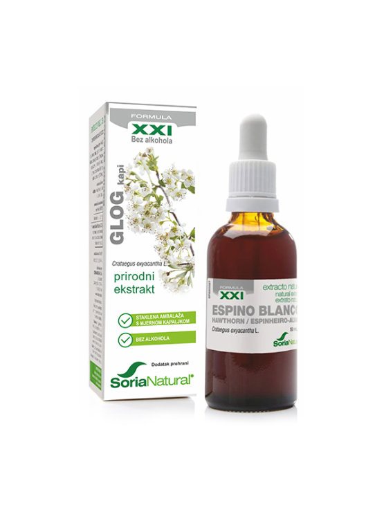 Soria Natural hawthorn drops in a 50ml glass bottle with a dropper