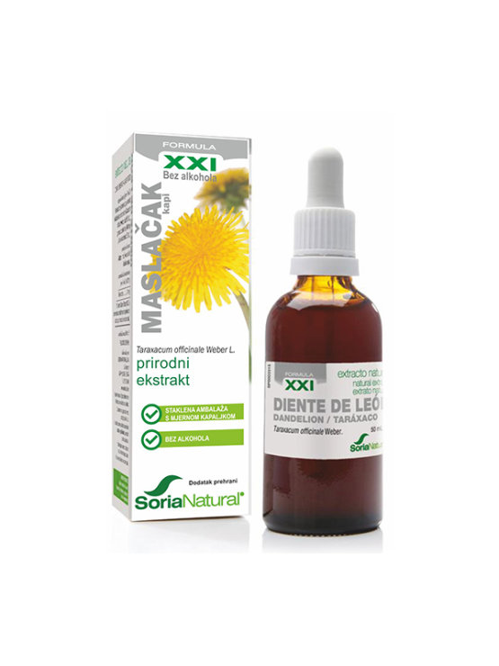 Soria Natural dandelion drops in a 50ml glass bottle with a dropper