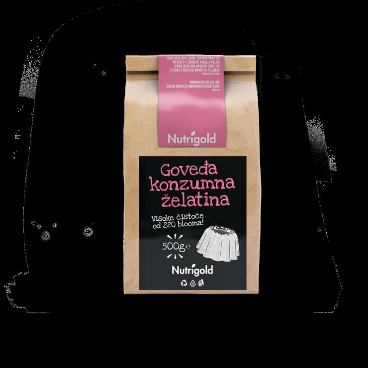 Nutrigold beef gelatin powder in a packaging of 500g