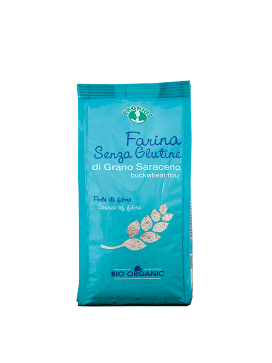 Probios organic and gluten free buckwheat flour in a packaging of 375g