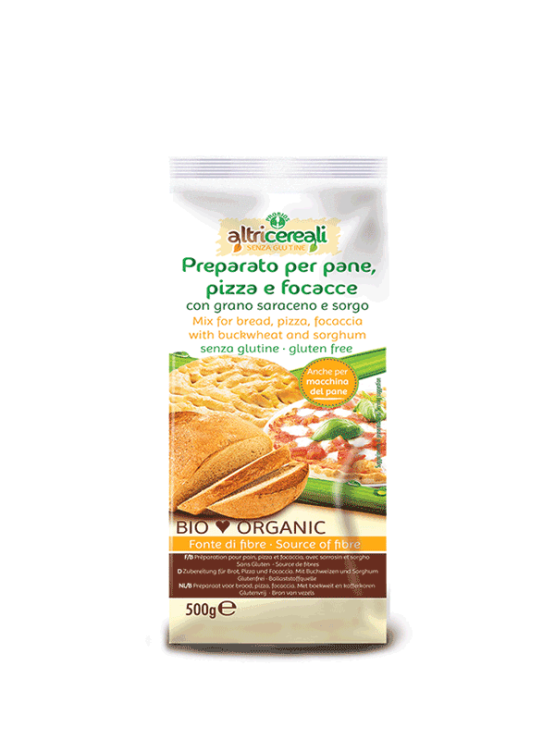 Probios bread and pizza mix in a packaging of 500g