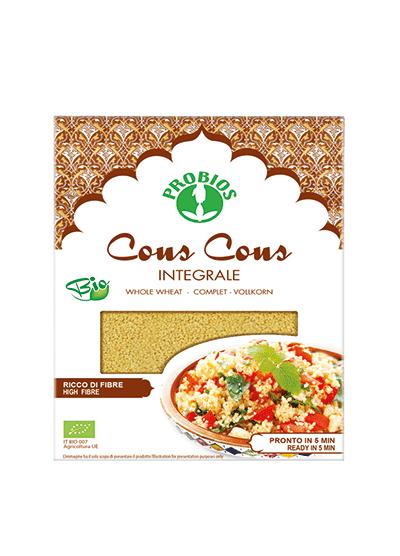 Probios organic whole grain durum wheat couscous in a 500g packaging