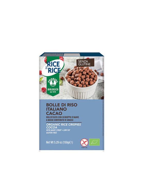 Probios organic cocoa rice crispies in a packaging of 150g