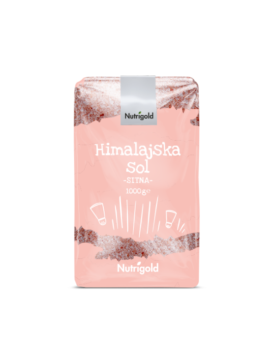 Nutrigold finely ground Himalayan salt in a transparent packaging of 1000g