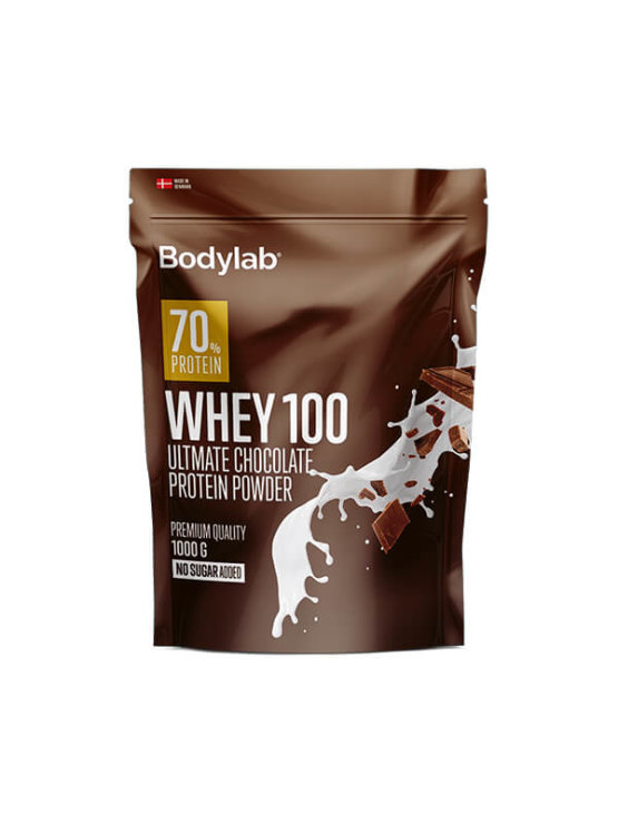 Bodylab whey 100 chocolate in a resealable packaging of 1000g